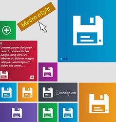 Floppy icon sign metro style buttons modern vector