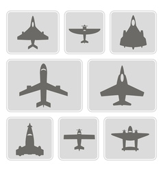 Monochrome icons with different airplanes vector