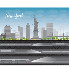 New york city skyline with blue sky vector