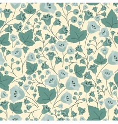 Bellflowers berries and leaves seamless pattern vector