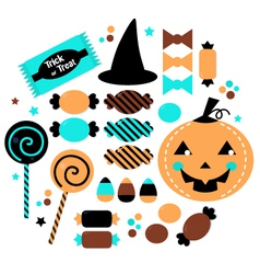 Halloween cute sweet candy set isolated on white vector