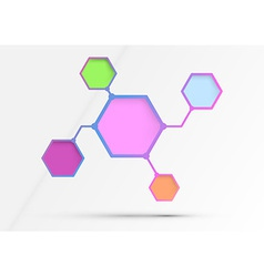 Structured diagram - information in hexagons - vector