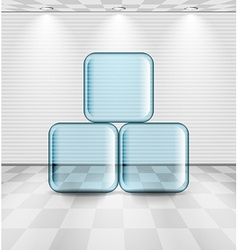 White room with glass plates vector