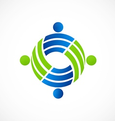 Teamwork circle people group logo vector