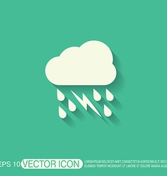 Weather icon cloud rain lightning sign vector