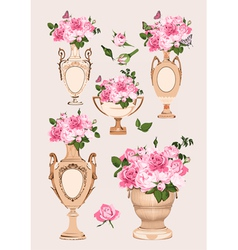 Collection of vases roses on pink background vector