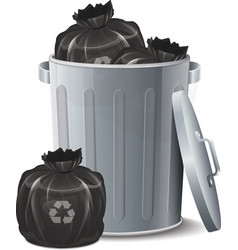 Iron bin with garbage bag vector