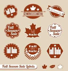 Fall seasonal sale label set vector