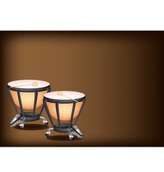 Classical timpanis on dark brown background vector