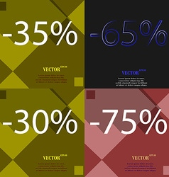 65 30 75 icon set of percent discount on abstract vector