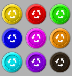 Refresh icon sign symbol on nine round colourful vector