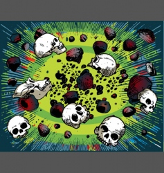 Cartoon skulls and stones vector