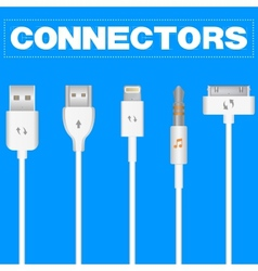 Connectors and sockets for pc and mobile devices vector