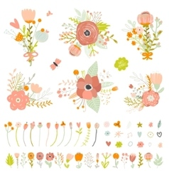 Romantic and love summer bouquets of flowers vector