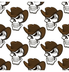 Skull in a stetson seamless pattern vector