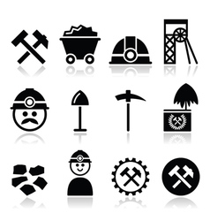 Coal mine miner icons set vector