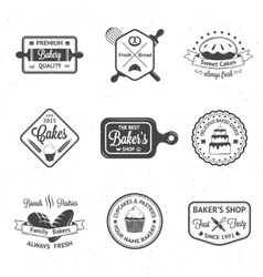 Vintage bakery badges labels and logos vector