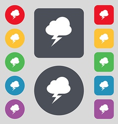 Storm icon sign a set of 12 colored buttons flat vector