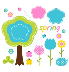 Spring colorful flowers and nature design elements vector