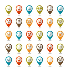 Set of color smiley icons mapping pins vector
