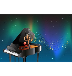 A black piano with musical notes vector