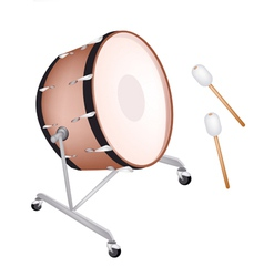 Beautiful classical bass drum on white background vector