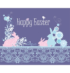 Floral happy easter card vector