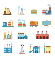 Industrial building factories and plants icons set vector