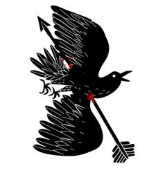 Bird dead by arrow vector