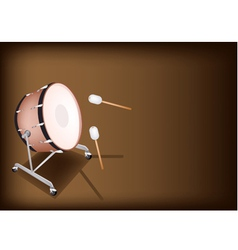 Classical bass drum on dark brown background vector