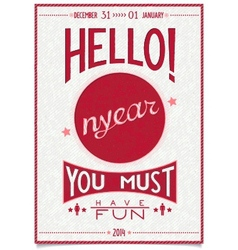 Retro new year poster with a cheerful greeting vector