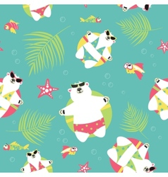 Seamless background with polar bears and vector