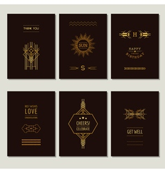 Set of art deco cards and vintage frames vector
