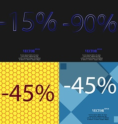 90 45 icon set of percent discount on abstract vector