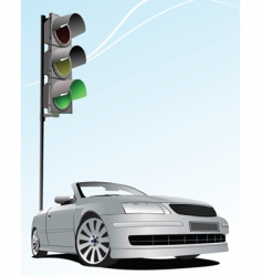 Traffic light and car vector