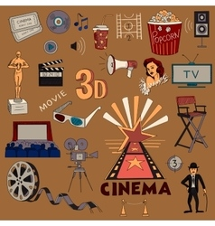 Colored hand drawn cinema icon set vector