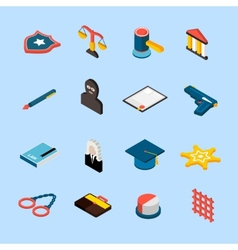 Law icons isometric vector