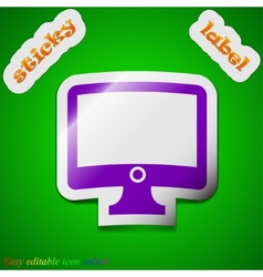 Computer widescreen monitor icon sign symbol chic vector