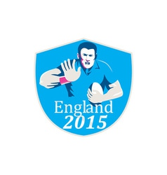 Rugby player fending england 2015 shield vector