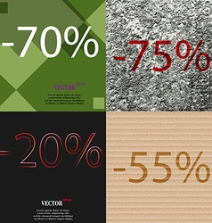 75 20 55 icon set of percent discount on abstract vector