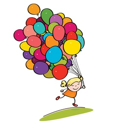 Kid with balloons vector