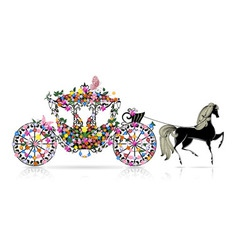 Carriage floral vector