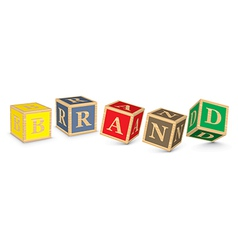 Word brand written with alphabet blocks vector