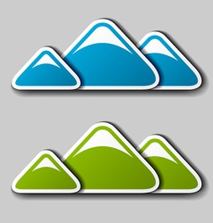 Paper winter spring mountains symbols vector