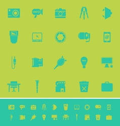 Photography related item color icons on green vector