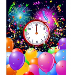 New year midnight clock background vector