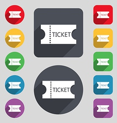 Ticket icon sign a set of 12 colored buttons and a vector