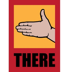 Poster with open palm targeting direction vector
