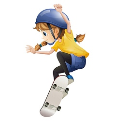 An energetic young woman skating vector