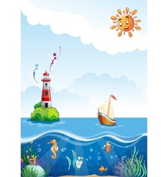 Childrens of sea with lighthouse sailing and fun vector